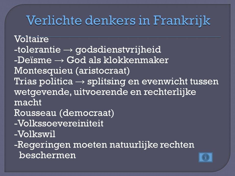 Voltaire -tolerantie → godsdienstvrijheid -Deïsme → God als klokkenmaker Montesquieu (aristocraat) Trias politica → splitsing en evenwicht tussen wetg