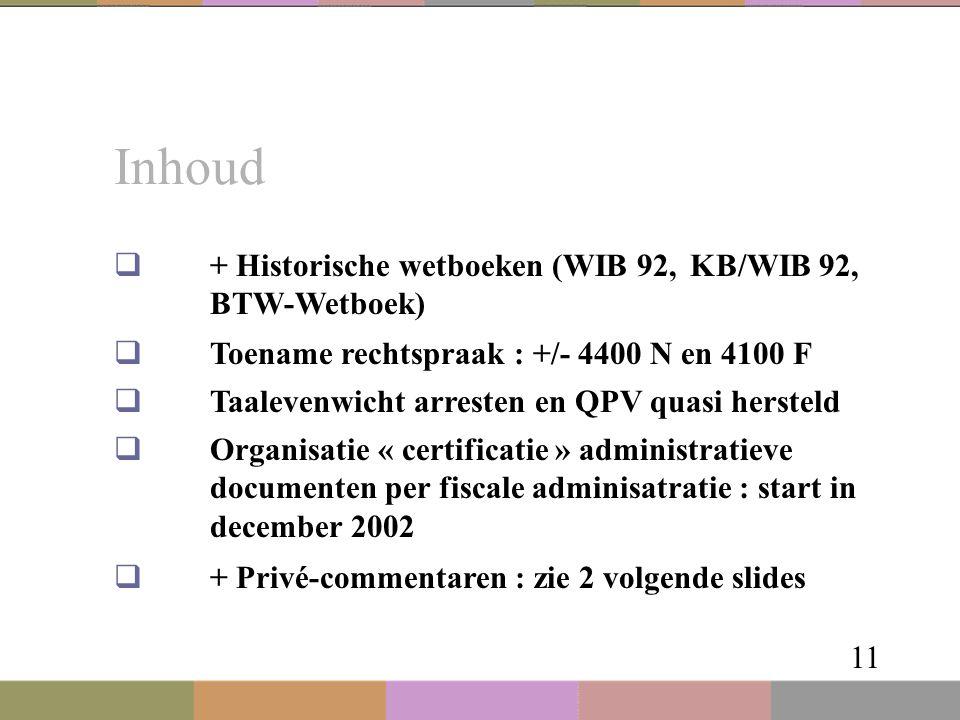 Inhoud 11  + Historische wetboeken (WIB 92, KB/WIB 92, BTW-Wetboek)  Toename rechtspraak : +/- 4400 N en 4100 F  Taalevenwicht arresten en QPV quas