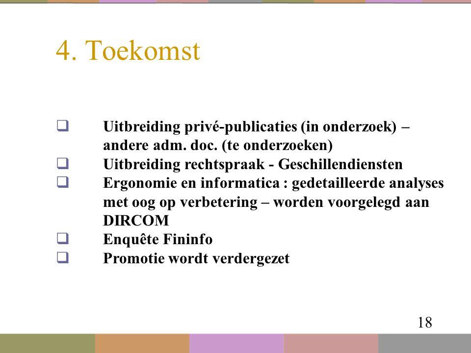 4. Toekomst 18  Uitbreiding privé-publicaties (in onderzoek) – andere adm. doc. (te onderzoeken)  Uitbreiding rechtspraak - Geschillendiensten  Erg