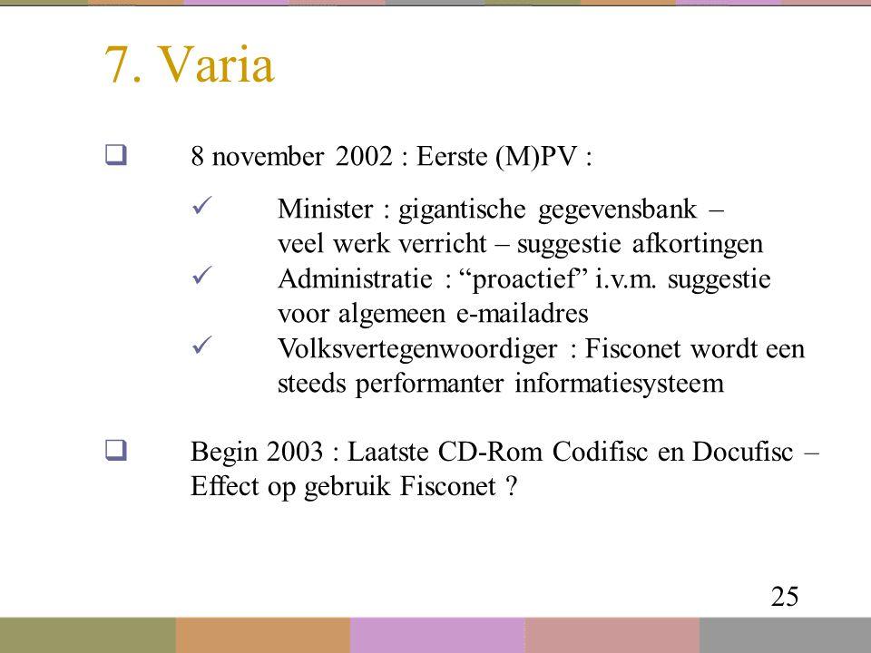 """7. Varia 25  8 november 2002 : Eerste (M)PV : Minister : gigantische gegevensbank – veel werk verricht – suggestie afkortingen Administratie : """"proac"""