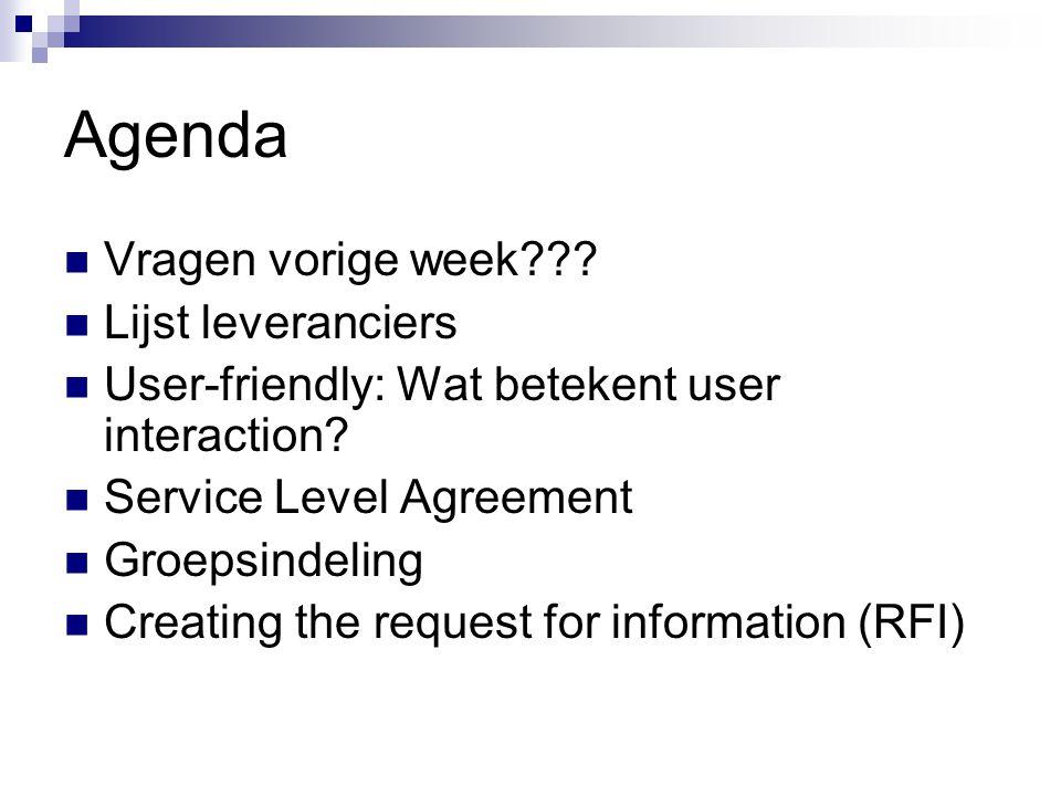 Agenda Vragen vorige week??? Lijst leveranciers User-friendly: Wat betekent user interaction? Service Level Agreement Groepsindeling Creating the requ