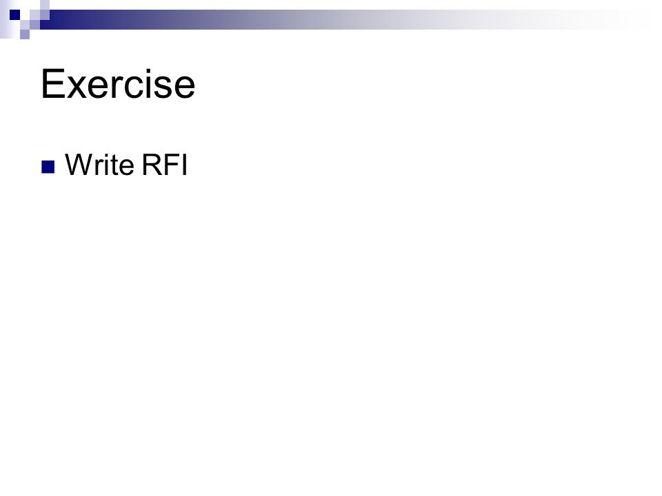 Exercise Write RFI