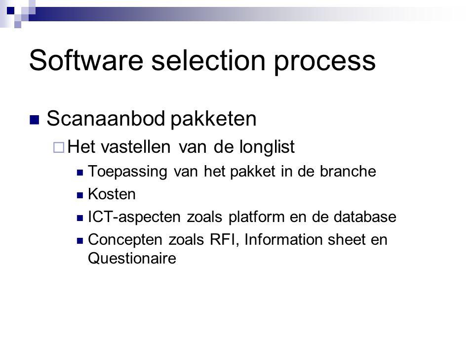 Software selection process Scanaanbod pakketen  Het vastellen van de longlist Toepassing van het pakket in de branche Kosten ICT-aspecten zoals platf