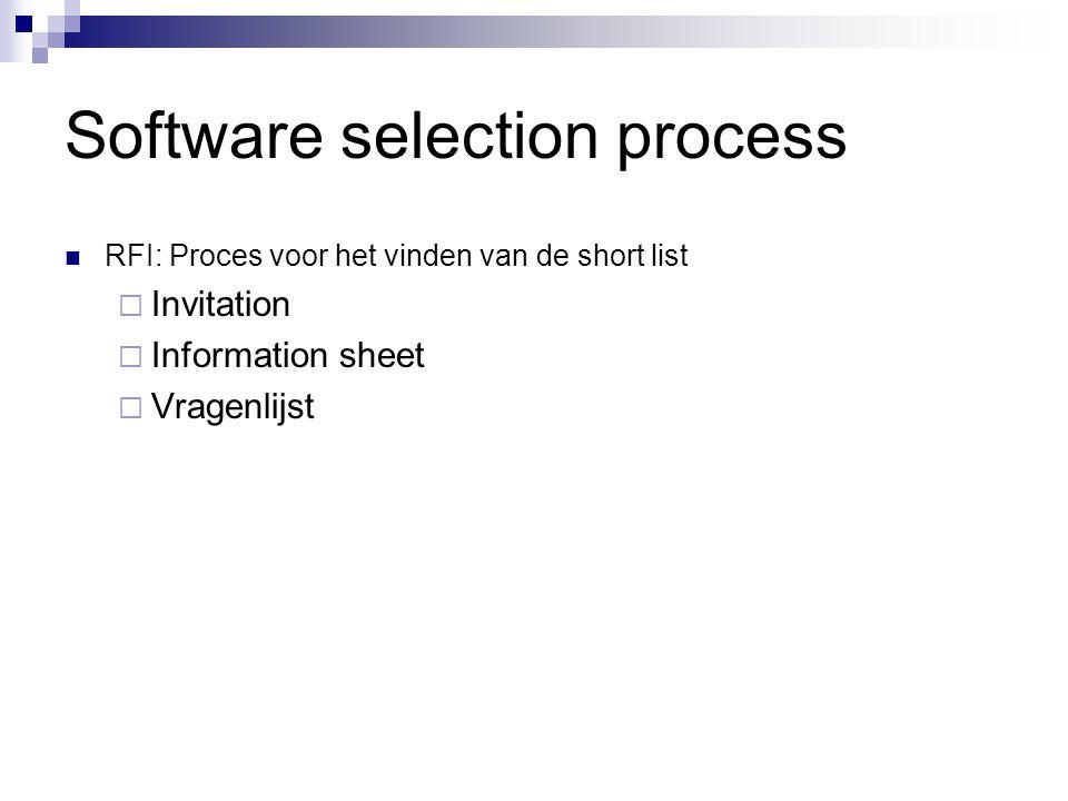 Software selection process RFI: Proces voor het vinden van de short list  Invitation  Information sheet  Vragenlijst