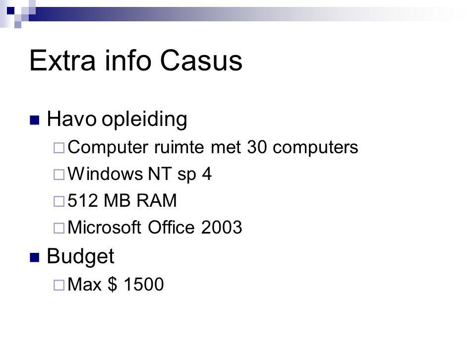 Extra info Casus Havo opleiding  Computer ruimte met 30 computers  Windows NT sp 4  512 MB RAM  Microsoft Office 2003 Budget  Max $ 1500