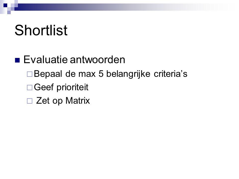 Shortlist Evaluatie antwoorden  Bepaal de max 5 belangrijke criteria's  Geef prioriteit  Zet op Matrix