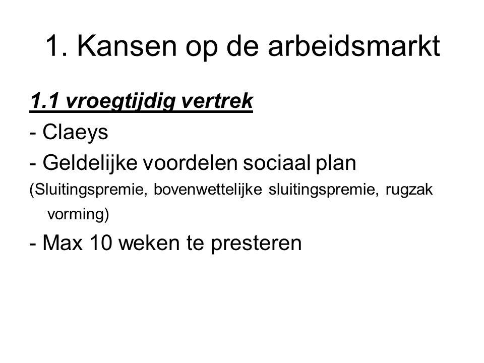 1. Kansen op de arbeidsmarkt 1.1 vroegtijdig vertrek - Claeys - Geldelijke voordelen sociaal plan (Sluitingspremie, bovenwettelijke sluitingspremie, r