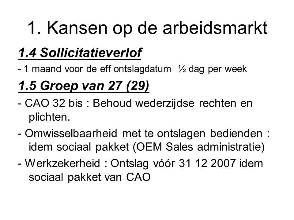 1. Kansen op de arbeidsmarkt 1.4 Sollicitatieverlof - 1 maand voor de eff ontslagdatum ½ dag per week 1.5 Groep van 27 (29) - CAO 32 bis : Behoud wede