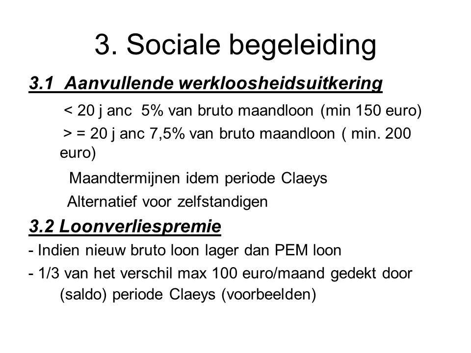 3. Sociale begeleiding 3.1 Aanvullende werkloosheidsuitkering < 20 j anc 5% van bruto maandloon (min 150 euro) > = 20 j anc 7,5% van bruto maandloon (
