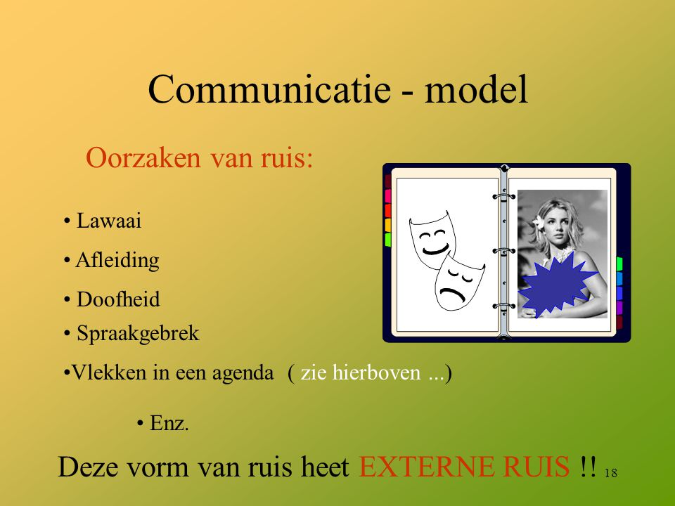 18 Communicatie - model Oorzaken van ruis: Lawaai Afleiding Doofheid Spraakgebrek Vlekken in een agenda ( zie hierboven...) Enz. Deze vorm van ruis he