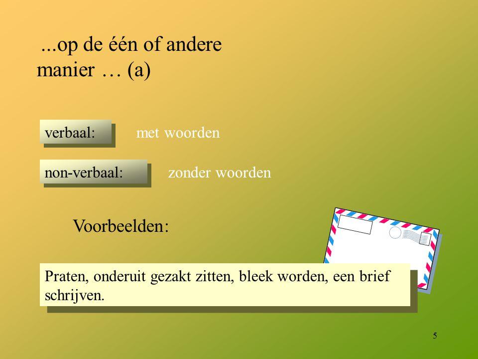 5 Praten, onderuit gezakt zitten, bleek worden, een brief schrijven....op de één of andere manier … (a) verbaal: non-verbaal: met woorden zonder woord