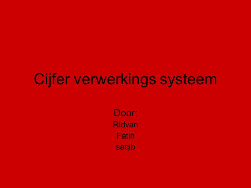 Cijfer verwerkings systeem Door: Ridvan Fatih saqib