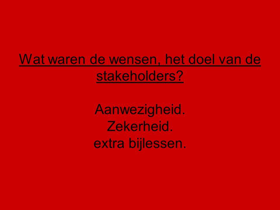 Wat waren de wensen, het doel van de stakeholders? Aanwezigheid. Zekerheid. extra bijlessen.