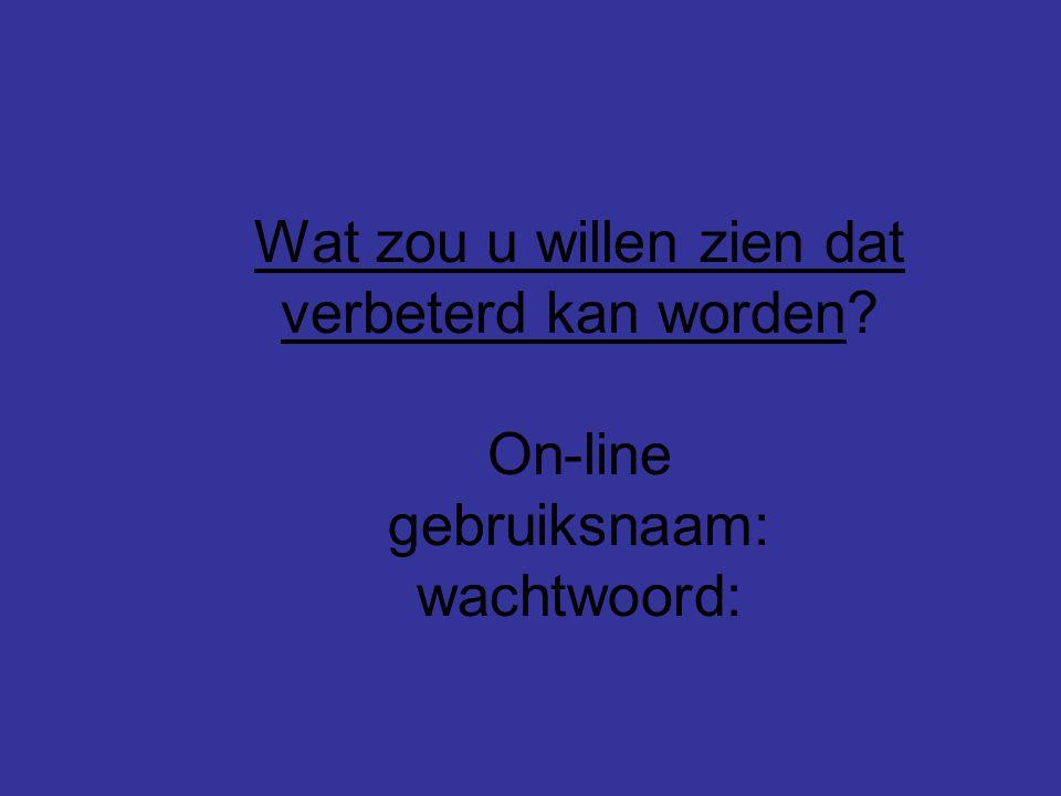 Wat zou u willen zien dat verbeterd kan worden On-line gebruiksnaam: wachtwoord:
