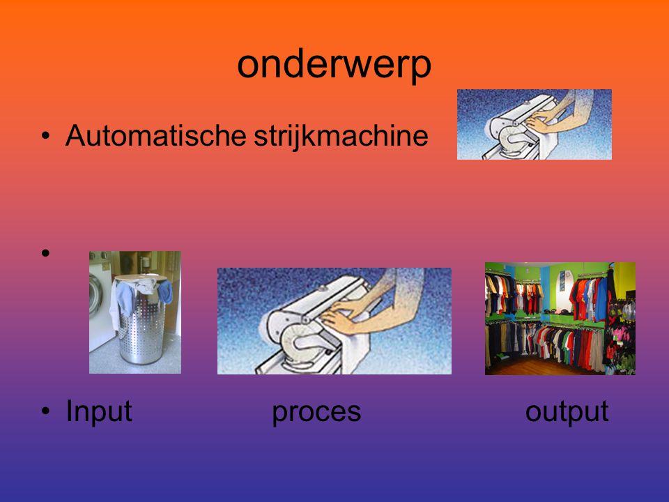 onderwerp Automatische strijkmachine Input proces output
