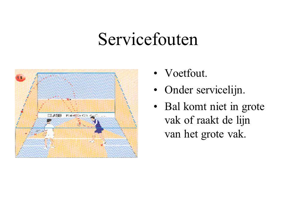 Service Minimum één voet in servicevak. Via voormuur (boven servicelijn) in tegenovergestelde vak. Slechts één service. FOUTEN!!