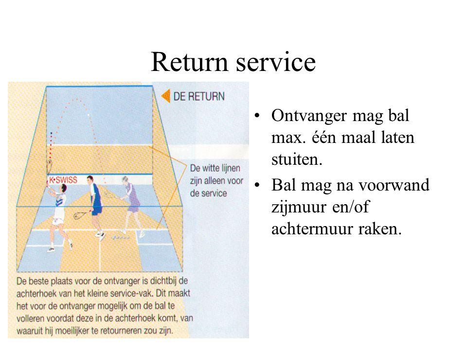 Servicefouten Voetfout. Onder servicelijn. Bal komt niet in grote vak of raakt de lijn van het grote vak.