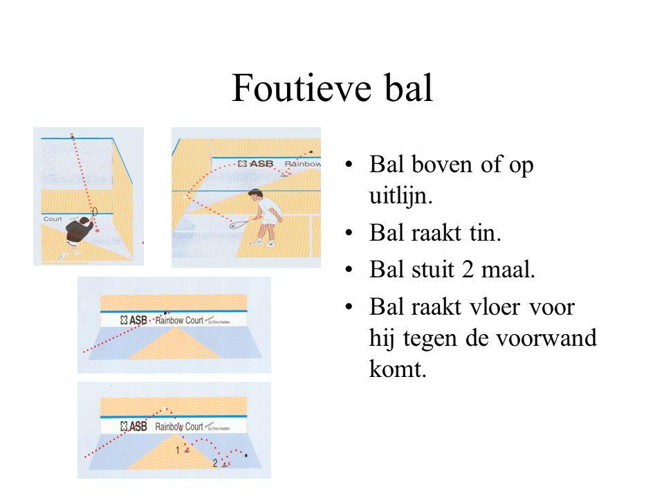 """Bal in het spel Bal hoeft voormuur niet rechtstreeks te raken. Na slag zo snel mogelijk naar de """"T"""". FOUTEN!!"""