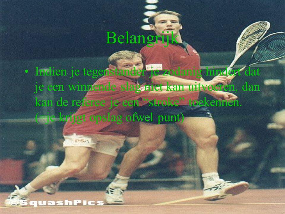 Belangrijk Bij iedere situatie waarbij het gevaar bestaat de tegenstander te raken (zowel met bal als met het racket) moet degene die de bal zou slaan