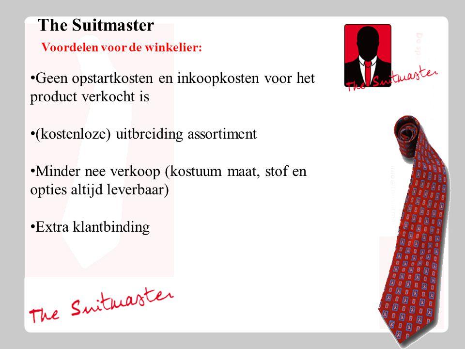 The Suitmaster Voordelen voor de winkelier: Geen opstartkosten en inkoopkosten voor het product verkocht is (kostenloze) uitbreiding assortiment Minder nee verkoop (kostuum maat, stof en opties altijd leverbaar) Extra klantbinding