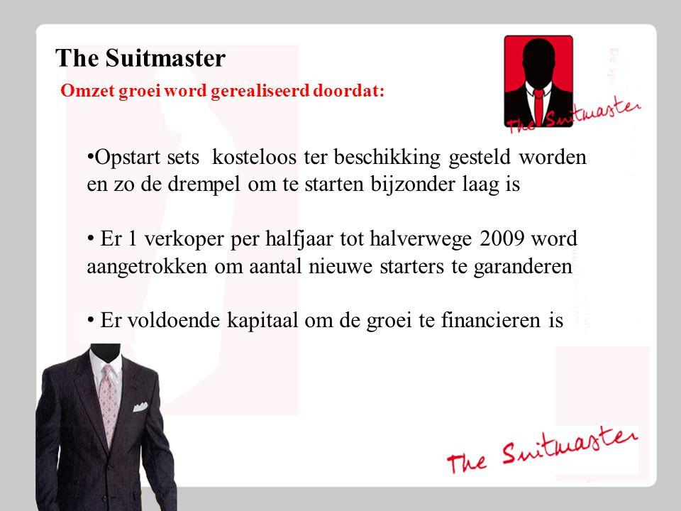 The Suitmaster Investeeringsoverzicht, terugverdientijd en medezeggenschap: Totaal investering van € 100.000 Verdeeld over 3 partijen Omzet bedrijf van VOF naar BV Investeerders vormen raad van bestuur Terugverdien tijd aug.