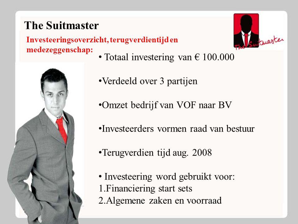 The Suitmaster Investeeringsoverzicht, terugverdientijd en medezeggenschap: Totaal investering van € 100.000 Verdeeld over 3 partijen Omzet bedrijf va