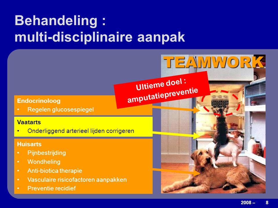 2008 – 8 Behandeling : multi-disciplinaire aanpak TEAMWORK Vaatarts Onderliggend arterieel lijden corrigeren Endocrinoloog Regelen glucosespiegel Huis