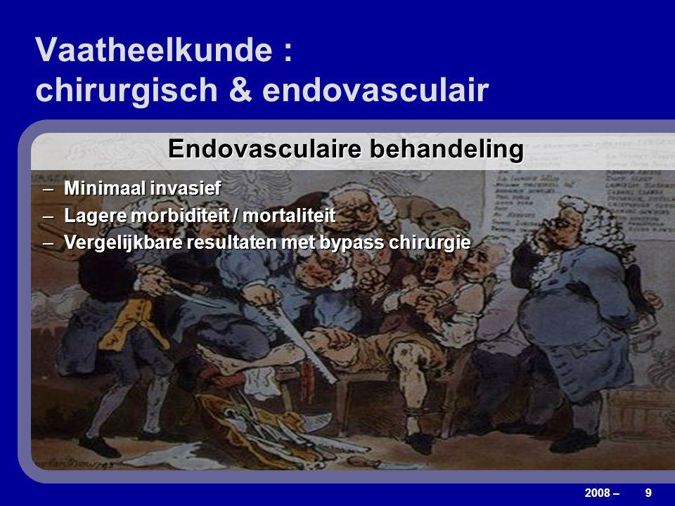 2008 – 9 Vaatheelkunde : chirurgisch & endovasculair Bypass chirurgie = algemeen aanvaarde therapie –Tot 70% amputaties vermeden na 1 jaar Niet alle p
