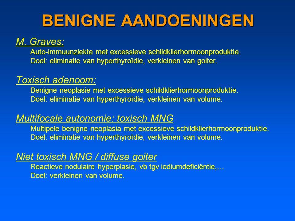 BENIGNE AANDOENINGEN M. Graves: Auto-immuunziekte met excessieve schildklierhormoonproduktie. Doel: eliminatie van hyperthyroïdie, verkleinen van goit