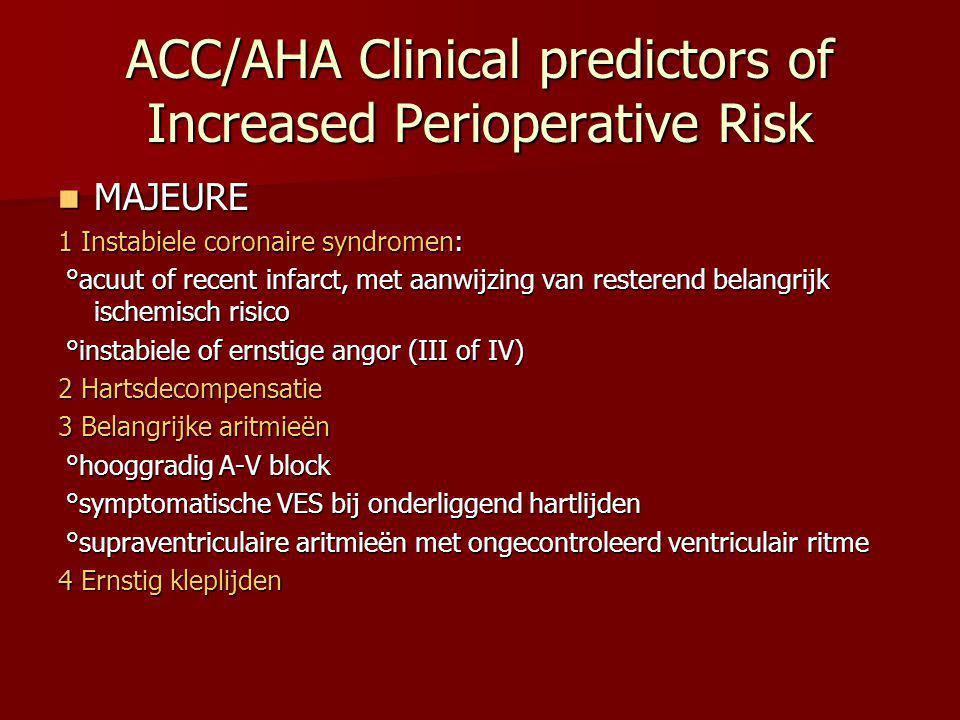 ACC/AHA Clinical predictors of Increased Perioperative Risk MAJEURE MAJEURE 1 Instabiele coronaire syndromen: °acuut of recent infarct, met aanwijzing