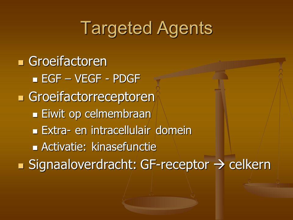 Targeted Agents Groeifactoren Groeifactoren EGF – VEGF - PDGF EGF – VEGF - PDGF Groeifactorreceptoren Groeifactorreceptoren Eiwit op celmembraan Eiwit op celmembraan Extra- en intracellulair domein Extra- en intracellulair domein Activatie: kinasefunctie Activatie: kinasefunctie Signaaloverdracht: GF-receptor  celkern Signaaloverdracht: GF-receptor  celkern