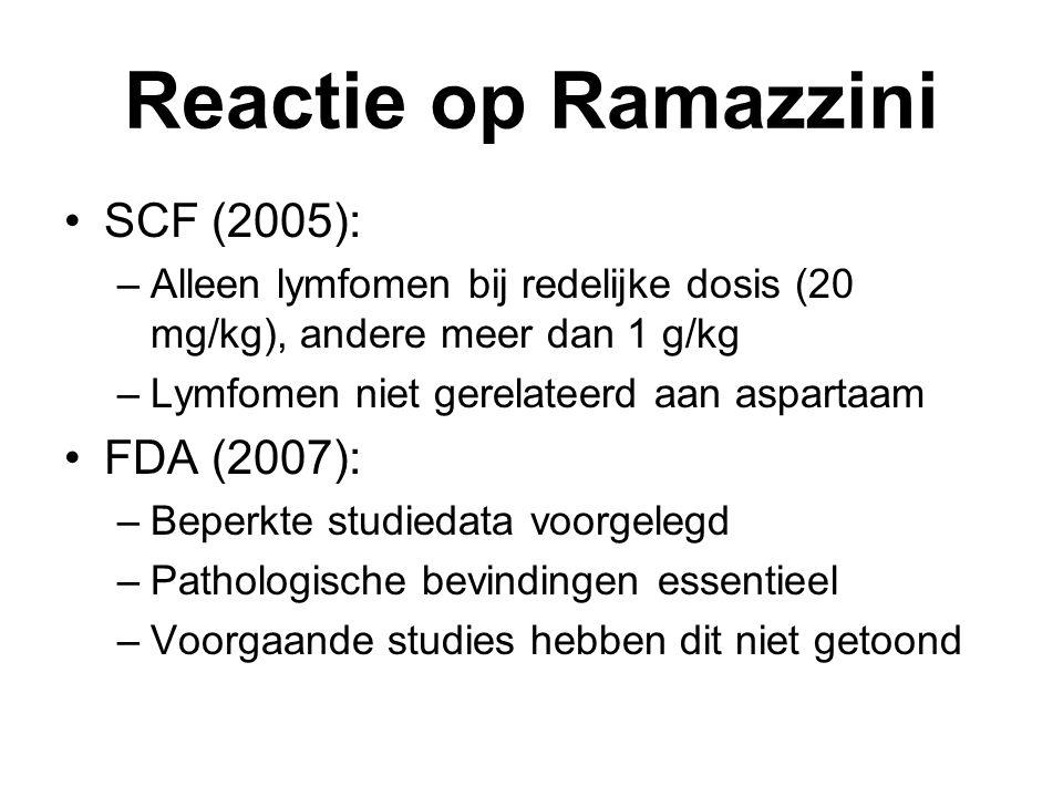 Reactie op Ramazzini SCF (2005): –Alleen lymfomen bij redelijke dosis (20 mg/kg), andere meer dan 1 g/kg –Lymfomen niet gerelateerd aan aspartaam FDA (2007): –Beperkte studiedata voorgelegd –Pathologische bevindingen essentieel –Voorgaande studies hebben dit niet getoond