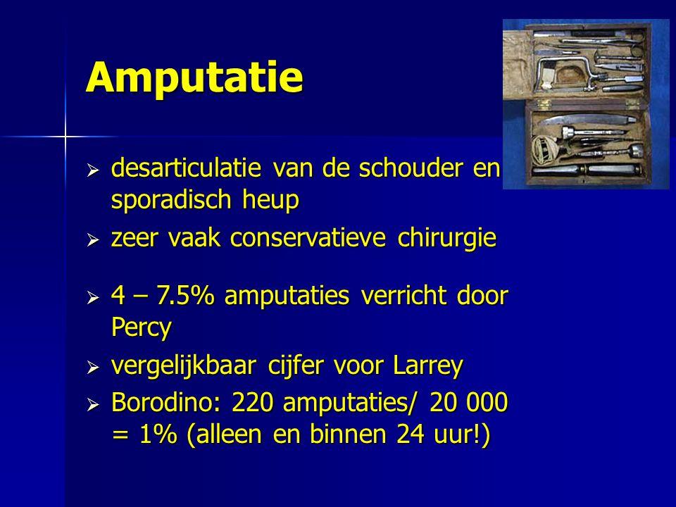 Amputatie  desarticulatie van de schouder en sporadisch heup  zeer vaak conservatieve chirurgie  4 – 7.5% amputaties verricht door Percy  vergelij