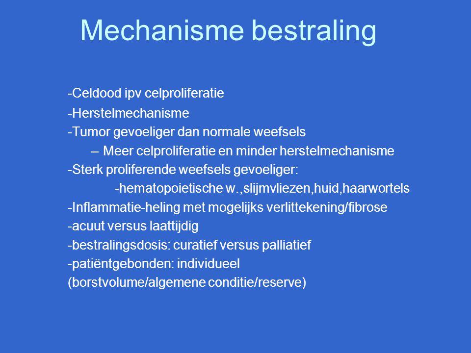 Mechanisme bestraling -Celdood ipv celproliferatie -Herstelmechanisme -Tumor gevoeliger dan normale weefsels –Meer celproliferatie en minder herstelme