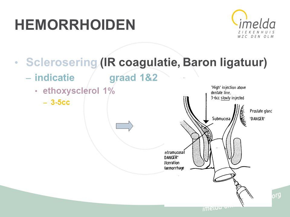 HEMORRHOIDEN Externe hemorrhoiden prolaps interne hemorrhoiden EXCISIE VOORKEURTECHNIEK: Milligan&Morgan =wigvormige excisie ANDERE (verlaten)TECHNIEK; Whitehead =circulaire excisie -->stenose, prolaps