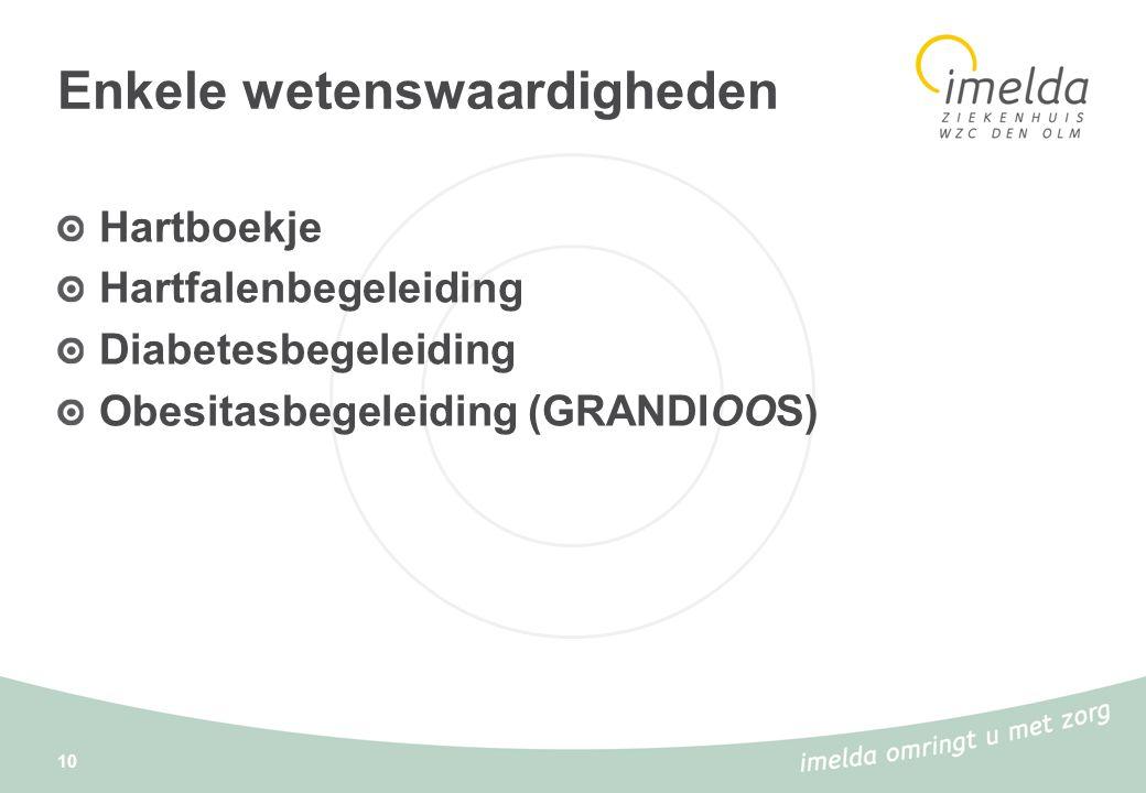 10 Enkele wetenswaardigheden Hartboekje Hartfalenbegeleiding Diabetesbegeleiding Obesitasbegeleiding (GRANDIOOS)