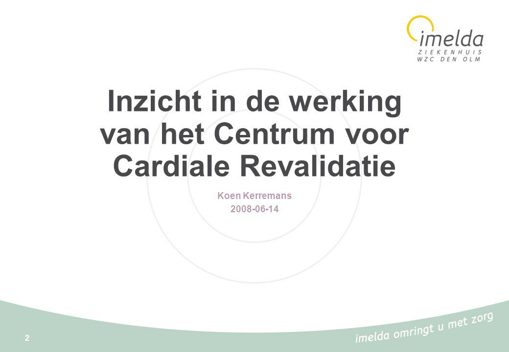 2 Inzicht in de werking van het Centrum voor Cardiale Revalidatie Koen Kerremans 2008-06-14