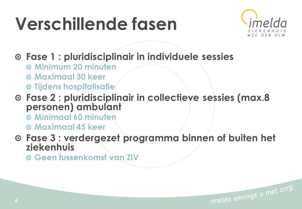 6 Verschillende fasen Fase 1 : pluridisciplinair in individuele sessies Minimum 20 minuten Maximaal 30 keer Tijdens hospitalisatie Fase 2 : pluridisci