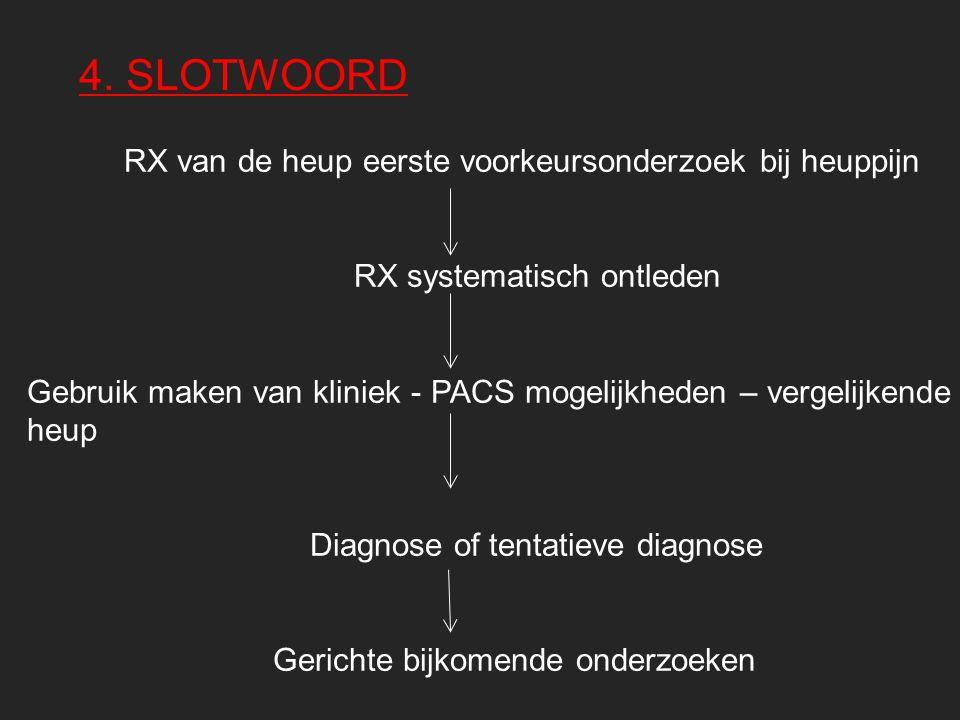 4. SLOTWOORD RX van de heup eerste voorkeursonderzoek bij heuppijn RX systematisch ontleden Gebruik maken van kliniek - PACS mogelijkheden – vergelijk