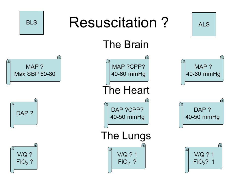 Resuscitation ? The Brain The Heart The Lungs MAP ?CPP? 40-60 mmHg DAP ?CPP? 40-50 mmHg V/Q ? 1 FiO 2 ? 1 BLS MAP ? Max SBP 60-80 DAP ? V/Q ? FiO 2 ?