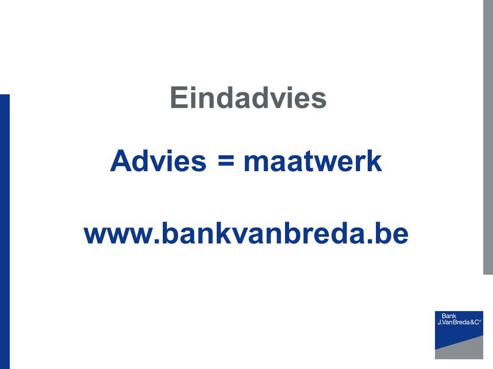 Advies = maatwerk www.bankvanbreda.be Eindadvies