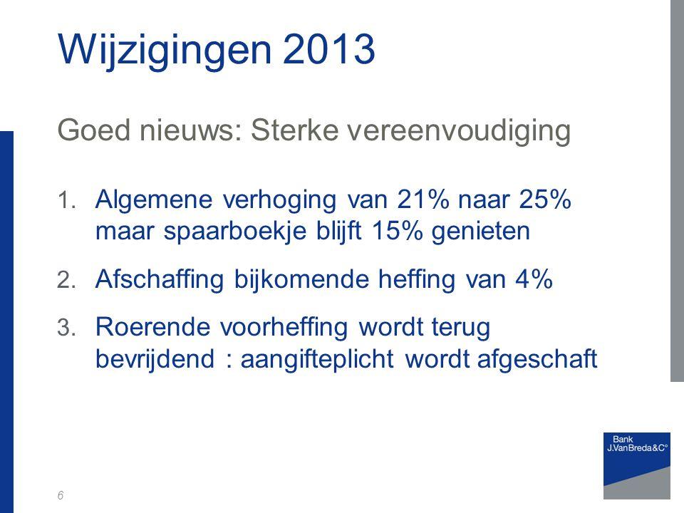 Wijzigingen 2013 Goed nieuws: Sterke vereenvoudiging 1.