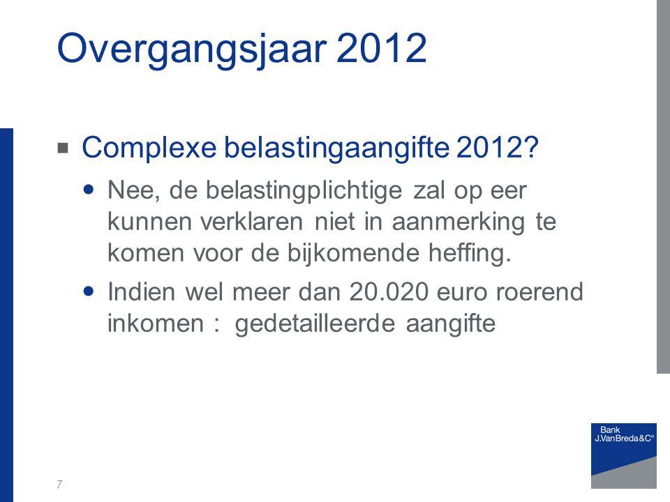 Overgangsjaar 2012  Complexe belastingaangifte 2012.