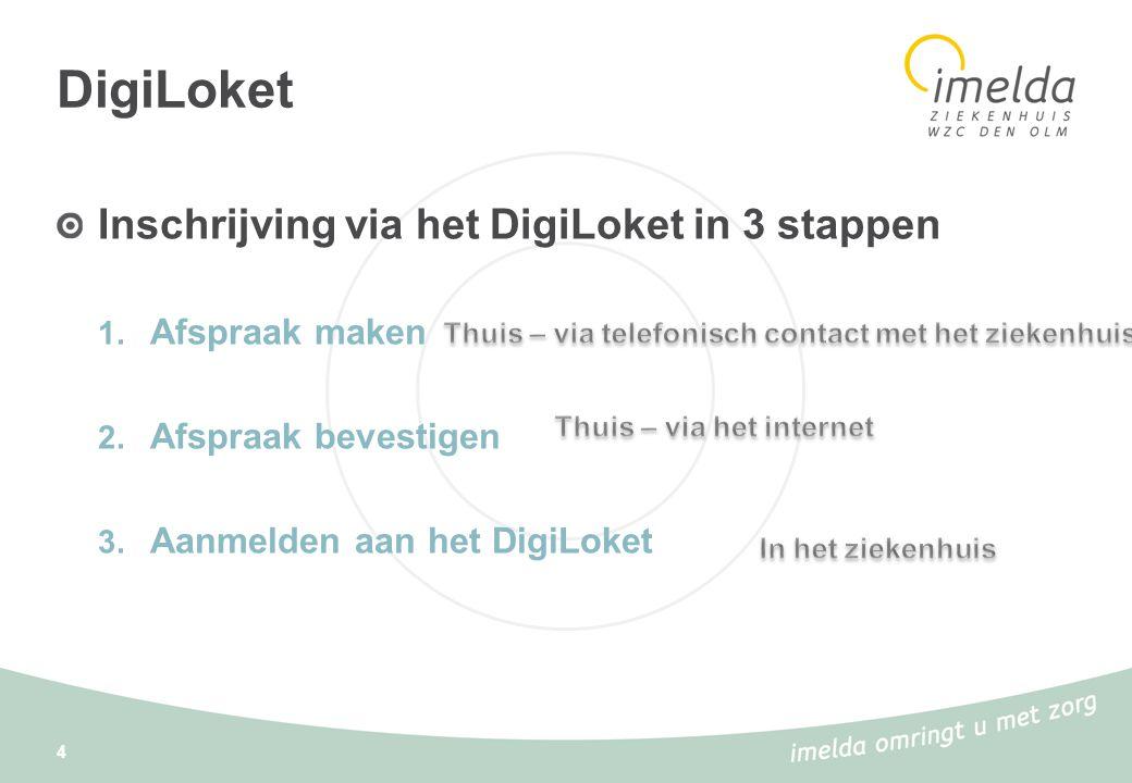 DigiLoket Inschrijving via het DigiLoket in 3 stappen 1. Afspraak maken 2. Afspraak bevestigen 3. Aanmelden aan het DigiLoket 4