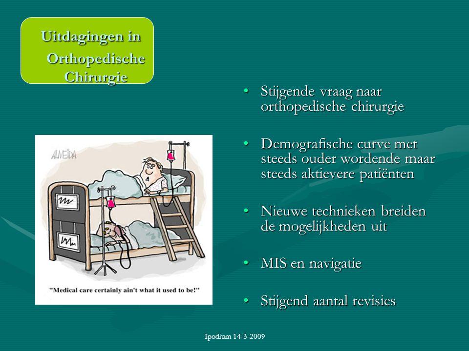 Ipodium 14-3-2009 Uitdagingen in Orthopedische Chirurgie Uitdagingen in Orthopedische Chirurgie Stijgende vraag naar orthopedische chirurgie Demografi