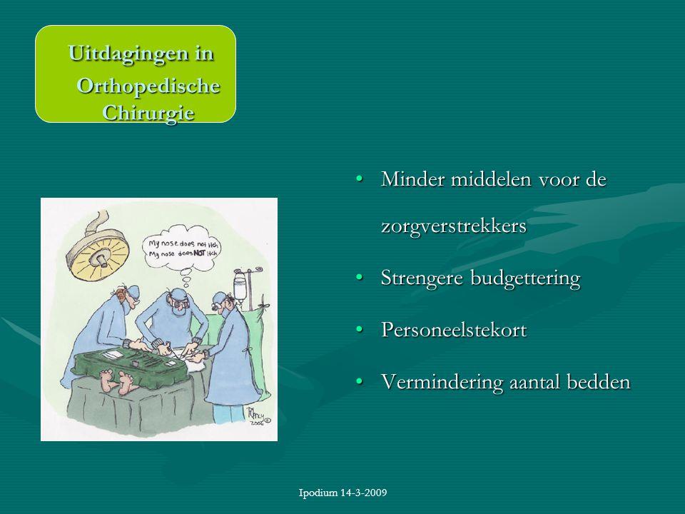 Ipodium 14-3-2009 Minder middelen voor de zorgverstrekkers Strengere budgettering Personeelstekort Vermindering aantal bedden Uitdagingen in Orthopedi