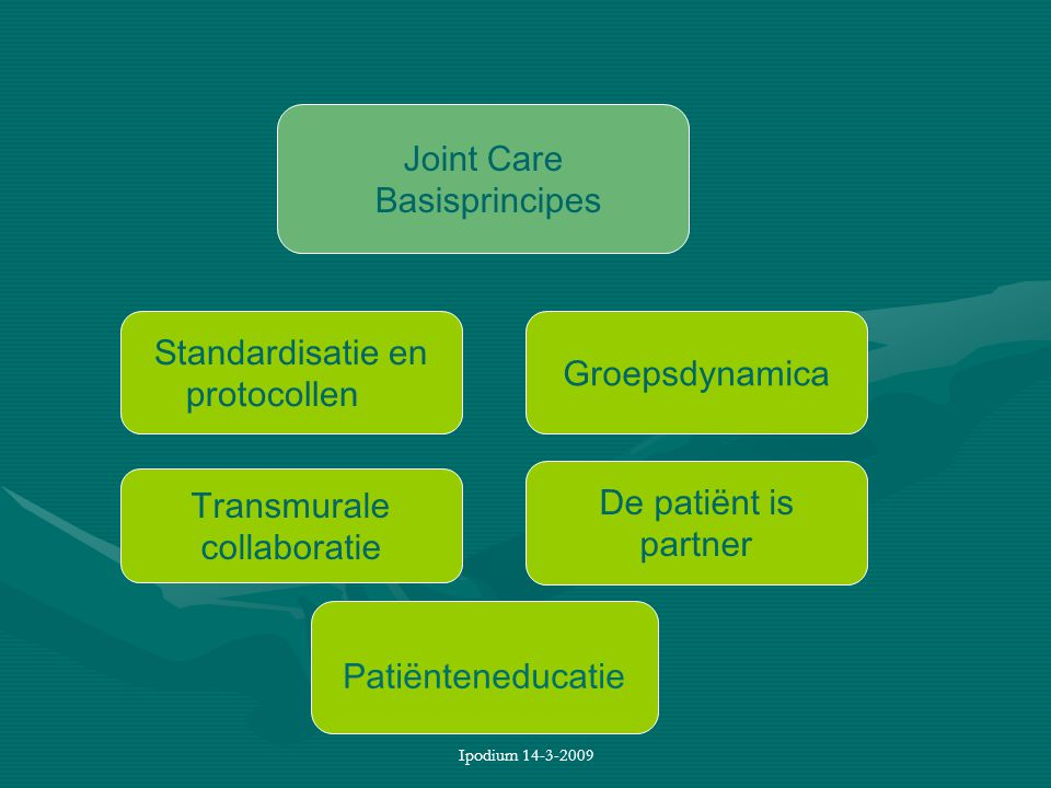 Ipodium 14-3-2009 Joint Care Basisprincipes Transmurale collaboratie De patiënt is partner Groepsdynamica Standardisatie en protocollen Patiënteneduca