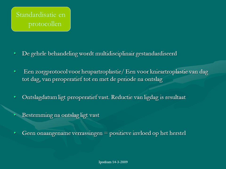 Ipodium 14-3-2009 De gehele behandeling wordt multidisciplinair gestandardiseerdDe gehele behandeling wordt multidisciplinair gestandardiseerd Een zor