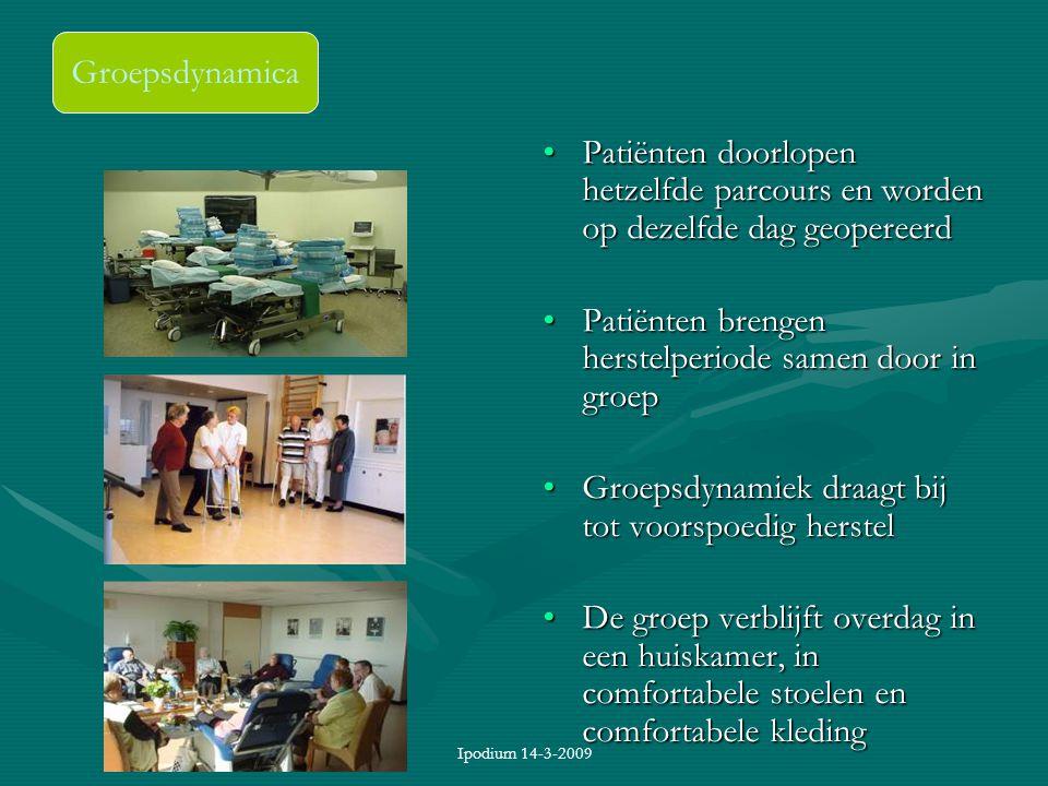 Ipodium 14-3-2009 Groepsdynamica Patiënten doorlopen hetzelfde parcours en worden op dezelfde dag geopereerd Patiënten brengen herstelperiode samen do
