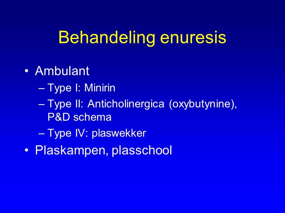 Behandeling enuresis Ambulant –Type I: Minirin –Type II: Anticholinergica (oxybutynine), P&D schema –Type IV: plaswekker Plaskampen, plasschool